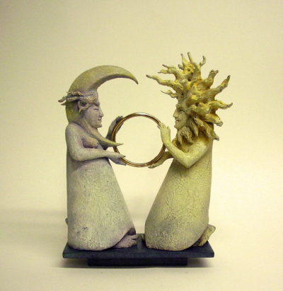 "MASSEY, FIDELMA, ""GOLD RING"", BRONZE, EDITION 12, 28X21X8CM"